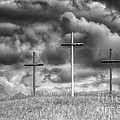 Three Crosses On Hill by Thomas R Fletcher