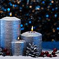 Three Silver Candles In Snow  by U Schade