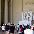 Visitors At The Lincoln Memorial by B Christopher