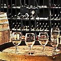 Wine Glasses And Barrels by Elena Elisseeva