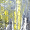 Placed - Grey And Yellow Abstract Art Painting by CarolLynn Tice