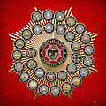 33 Scottish Rite Degrees On Red Leather by Serge Averbukh