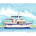 37 Foot Marine Trader 37 Trawler Yacht At Anchor by Jack Pumphrey