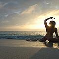 3954 Sunrise Yoga Nude On The Beach  by Chris Maher