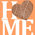Austin Street Map Home Heart - Austin Texas Road Map In A Heart by Jurq Studio