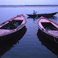 Boats On The Ganges River by Scott Warren