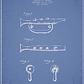 Bugle Call Instrument Patent Drawing From 1939 - Light Blue by Aged Pixel