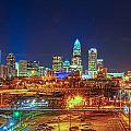 Charlotte City Skyline Night Scene by Alex Grichenko