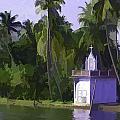 Church Located Next To A Canal by Ashish Agarwal