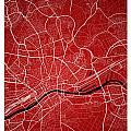 Frankfurt Street Map - Frankfurt Germany Road Map Art On Colored by Jurq Studio