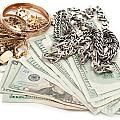 Gold And Silver Pile Scrap And Cash Dollar by Gunter Nezhoda