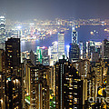 Hong Kong Harbor From Victoria Peak At Night by Matteo Colombo