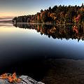 Lake In Autumn Sunrise Reflection by Mark Duffy