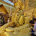 4 M Tall Sitting Buddha With Thick Layer Of Golden Leaves In Mahamuni Pagoda Mandalay Myanmar by Juergen Ritterbach