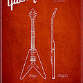 Mccarty Gibson Electric Guitar Patent Drawing From 1958 - Red by Aged Pixel