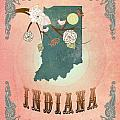 Modern Vintage Indiana State Map  by Joy House Studio