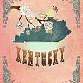 Modern Vintage Kentucky State Map  by Joy House Studio