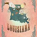 Modern Vintage Louisiana State Map  by Joy House Studio