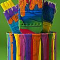 Multicolored Paint Can With Brushes by Jim Corwin