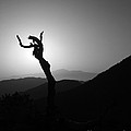 New Photographic Art Print For Sale Joshua Tree At Sunset Black And White by Toula Mavridou-Messer