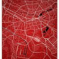 Nuremberg Street Map - Nuremberg Germany Road Map Art On Colored by Jurq Studio