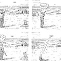 4 Panels.  Man Shoots At A Grout Which Then Turns by Rob Esmay