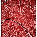 Paris Street Map - Paris France Road Map Art On Colored Backgrou by Jurq Studio