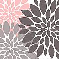 Pink Gray Peony Flowers by Voros Edit