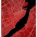 Quebec City Street Map - Quebec City Canada Road Map Art On Colo by Jurq Studio