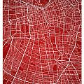 Santiago Street Map - Santiago Chile Road Map Art On Colored Bac by Jurq Studio