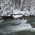 Snow Covered Pine Trees On The Side Of A River In The Winter. by Don Landwehrle