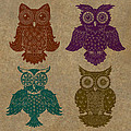 4 Sophisticated Owls Colored by Kyle Wood