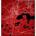 Sudbury Street Map - Sudbury Canada Road Map Art On Colored Back by Jurq Studio
