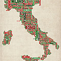 Text Map Of Italy Map by Michael Tompsett