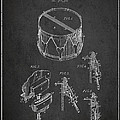 Vintage Snare Drum Patent Drawing From 1889 - Dark by Aged Pixel