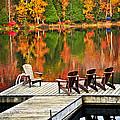 Wooden Dock On Autumn Lake by Elena Elisseeva