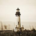 Yaquina Head Lighthouse - Sepia Texture by Scott Pellegrin