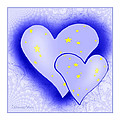 457 - Two Hearts Blue by Irmgard Schoendorf Welch