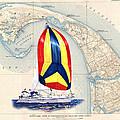 39 Foot Beneteau Cape Cod Chart Art by Jack Pumphrey