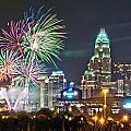 4th Of July Firework Over Charlotte Skyline by Alex Grichenko
