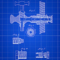 Beer Tap Patent 1876 - Blue by Stephen Younts