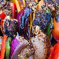 Chicken And Pepper Kebabs Slowly Cooking On The Barbecue by Fizzy Image