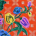Colorful Batik Cloth Fabric Background  by Prakasit Khuansuwan