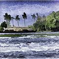 Digital Oil Painting - A Houseboat On Its Quiet Sojourn Through The Backwaters by Ashish Agarwal