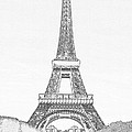 Black Ink On White Of Eiffel Tower  by Carl Purcell