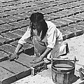 Indians Making Adobe Bricks by Underwood Archives Onia