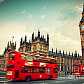 London Uk Red Bus In Motion And Big Ben by Michal Bednarek