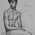 Original Drawing Sketch Charcoal Chalk Male Nude Gay Man Art Pencil On Paper By Hongtao by Hongtao     Huang