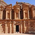 The Monastery At Petra In Jordan by Robert Preston