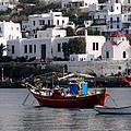 A Boat In The Harbor Of Mykonos Greece by Richard Rosenshein